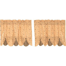 """Maisie Plaid Scalloped Tier Set by VHC Brands - Lined - 24"""" x 36"""""""