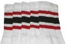 "25"" KNEE HIGH WHITE tube socks with RED/BLACK stripes style 3 (25-24)"