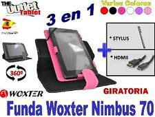 "PACK FUNDA PARA TABLET WOXTER NIMBUS 70 7"" + HDMI + STLYUS GIRATORIA UNIVERSAL"