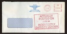 METER FRANKING ERROR DATED PO CACHET...LEICESTER AERO CLUB FLYING 1992