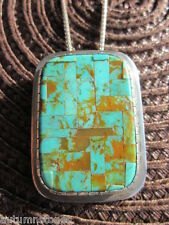 Vintage Charlie Bird Sterling ROYSTON Turquoise MICRO MOSAIC INLAY Pendant