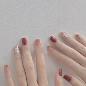 French Flower Square Full Cover Gradient Fake Nails Short Press On Nails Decor