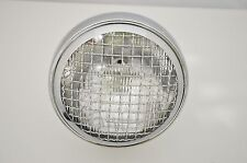 "5.75"" Motorcycle Headlight Chrome Mesh Steel Bottom Mount for Cafe Racer Project"