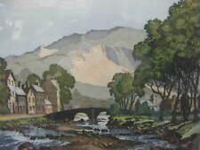 """James Priddey FRSA ~ """"Beddgelert"""" Wales ~ Coloured Etching ~ Signed Artist Proof"""