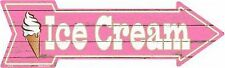 "Ice Cream Novelty Metal Arrow Sign 17"" x 5"" Wall Decor"