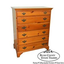Davis Cabinet Vintage Pilgrim Pine Chippendale Style Tall Chest