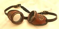 Steampunk  Goggles With Distressed Brown Leather Covered & Brass Metal Cog
