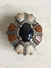 Vintage Miracle Brooch Scottish Celtic Agate Brown Signed