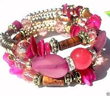 ROSE AGATE MEMORY WIRE BRACELET Pink One size fits most SHIPS FROM USA H823