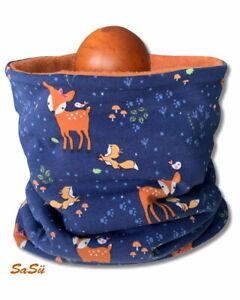 Schlupfschal ♥ Reh ♥ Loop ♥ Halssocke ♥ Schal ♥ Handmade ♥ Fleece ♥ Blau