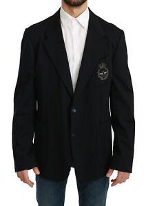 DOLCE & GABBANA Blazer Blue Crown Bee Slim Fit Coat IT56 / US46 / XXL