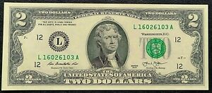 2013 US $2 Two Dollar Banknote - Crisp UNC, Washington DC