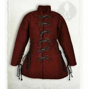 Thick Padded Red Gambeson Play Movies Medieval Theater Custome Sca
