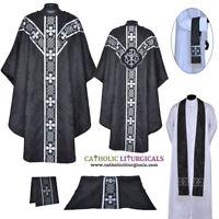 New Black Clergy Gothic vestment, stole & 5pc mass set chasuble, casula, casel
