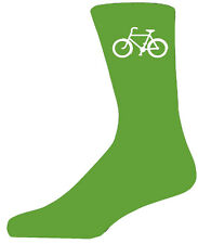 High Quality Green Socks With a White Bicycle, Lovely Birthday Gift