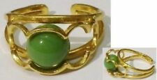 bague bijou vintage couleur or déco perle verte emprisonnée réglable * 5197