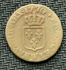 1770 A France 1 Liard Coin   Rare Readable Date  World Coin     #C919