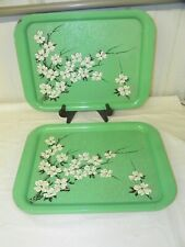 Set of 6 ~ Vintage Metal Serving Lap TV Tole Tray ~ Mint Green White Flowers