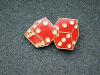 VINTAGE METAL PIN  RED DICE