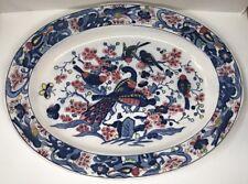 Grand Plat Oval Déco Asiatique Chine 🇨🇳 Paon Et Oiseaux L 47,5 l 35,5 Cm