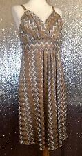 Torrid Gold Silver Metallic Chevron Dress Sundress Size 0 Large L 12 Nwt Zigzag