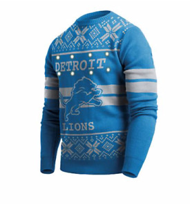 NFL DETROIT LIONS OFFICIAL Big Logo Ugly Light Up Sweater, Retails $74, Medium