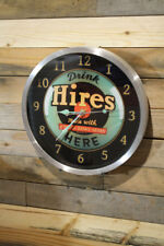 Classic Hires Root Beer Wall Clock Large 12 inch Non Ticking Sweep Hand Glass