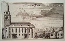 Zürich  St. Peter  Kirche  Schweiz Bluntschli  echter alter Kupferstich 1742