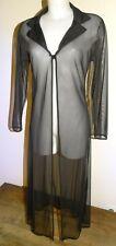 robe chemise T38/40 voile noir transparent longue ouverte sheer dress sexy 918&