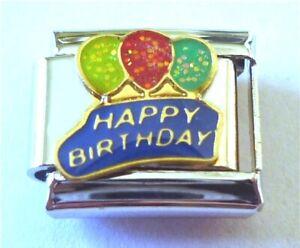 9mm  Italian Charm E130 Happy Birthday with Balloons Fits Classic Size Bracelet