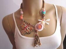 Damen Collier Hals Kette Modekette kurz Modeschmuck Ethno Boho Ibiza Libelle