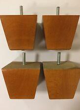 4x SOLID BEECH FURNITURE FEET/LEGS - SOFA, CHAIR, SETTEE, M8(8mm)