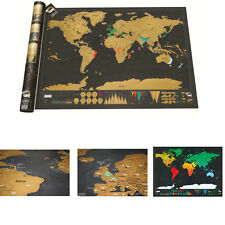 2018small Scratch off World Map Deluxe Edition Travel Logjournal Posterwalldecor