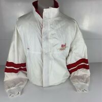 Swingster Mens Jacket White Red Zip Winston Racing Team Mock Neck Zip Snap USA L