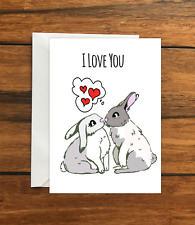 I love you rabbit greeting card A6
