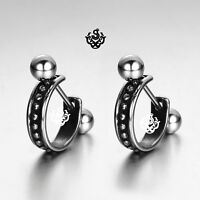 Silver stud dot pattern stainless steel earrings huggies cuff screw on fashion
