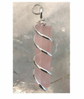 ROSE Quartz Chakra Crystal Point Silver Wire Wrap Spiral Pendant Necklace CHARGE