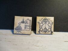 2 DOLLS HOUSE MINIATURE VINTAGE HABERDASHERY SHOPS PICTURES AA