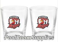Sydney Roosters NRL SPIRIT Glasses with METAL BADGE Man Cave Christmas Gift