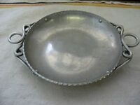 "Antique Vintage Hammered Aluminum Bowl Dish w/ Nice Handles ~ 6.25"" Diameter ~"