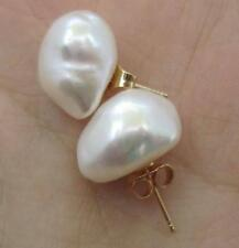 Huge AAA 11-12 mm White South Sea Baroque Pearl Earrings 14K YELLOW GOLD Stud
