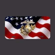 Semper Fi USMC Marine Corp US Flag License Plate metal  tag hero LM008