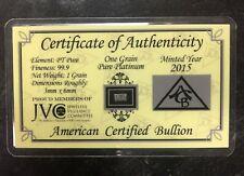 1 GRAIN .999 PURE PLATINUM 2015 CERTIFIED BULLION JVC CARD