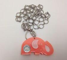 Quartz Peach Elephant Clock Watch Keychain Necklace Water Resistant