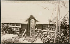 Arts & crafts style house/studio w/ rustic fence&door handle,Real Photo Postcard
