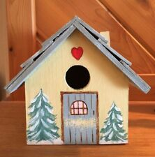 Hand Painted Bird House With Winter Ski Cabin Theme Paint On Door Is Distressed