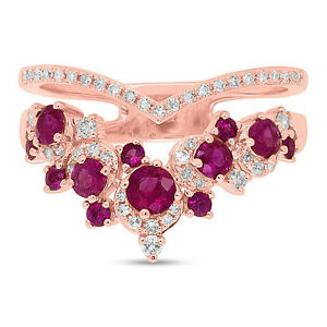 1.10 tcw 14K Rose Gold Natural Diamond Ruby Rubies Gemstone Chevron Crown Ring