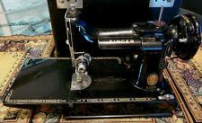 Vintage Singer Featherweight 221K Red S Black Sewing Machine W/ Case