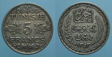 TUNISIA 5 FRANCHI AH 1353/1934 (a) AHMAD PASHA BB