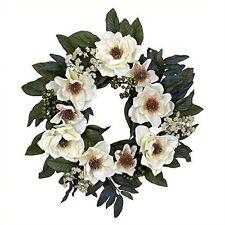 Nearly Natural 4793 Magnolia Wreath- 22-Inch- White